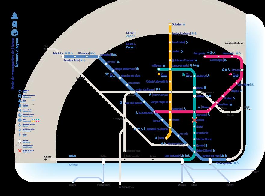 Mapa do Metrô de Lisboa